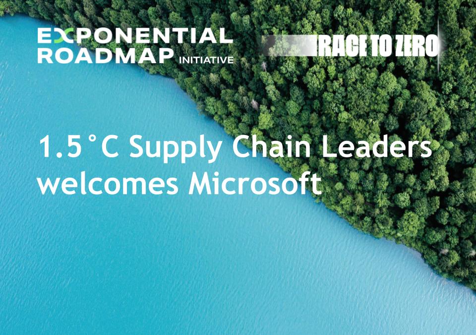 1.5°C Supply Chain Leaders welcomes Microsoft