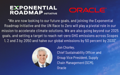 Oracle joins Exponential Roadmap Initiative and UN Race to Zero- to drive exponential climate action and solutions