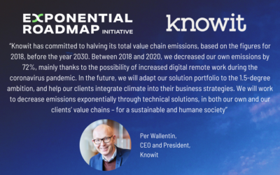 Knowit steps up its sustainability efforts further – partners with the Exponential Roadmap Initiative and joins Race to Zero